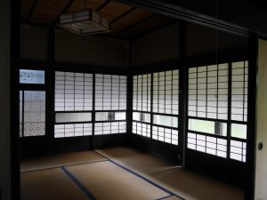 paper doors and tatami in BAKKE Ottobatake House in Yonekawa, Tome, Japan